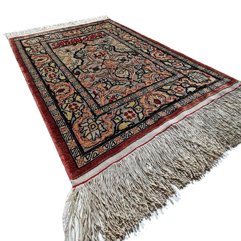 Hereke Pure Silk Turkish Prayer Rug with Golden Metal Threats Souf For Sale 5