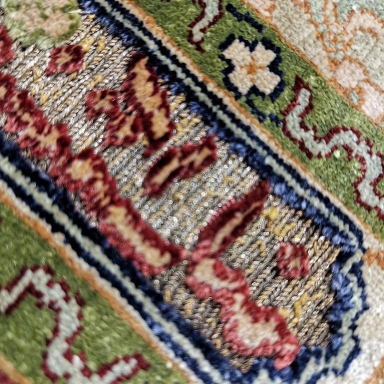 Hereke Pure Silk Turkish Prayer Rug with Golden Metal Threats Souf For Sale 6
