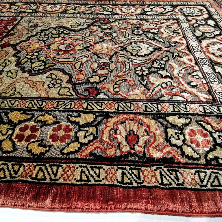 Hereke Pure Silk Turkish Prayer Rug with Golden Metal Threats Souf For Sale 6
