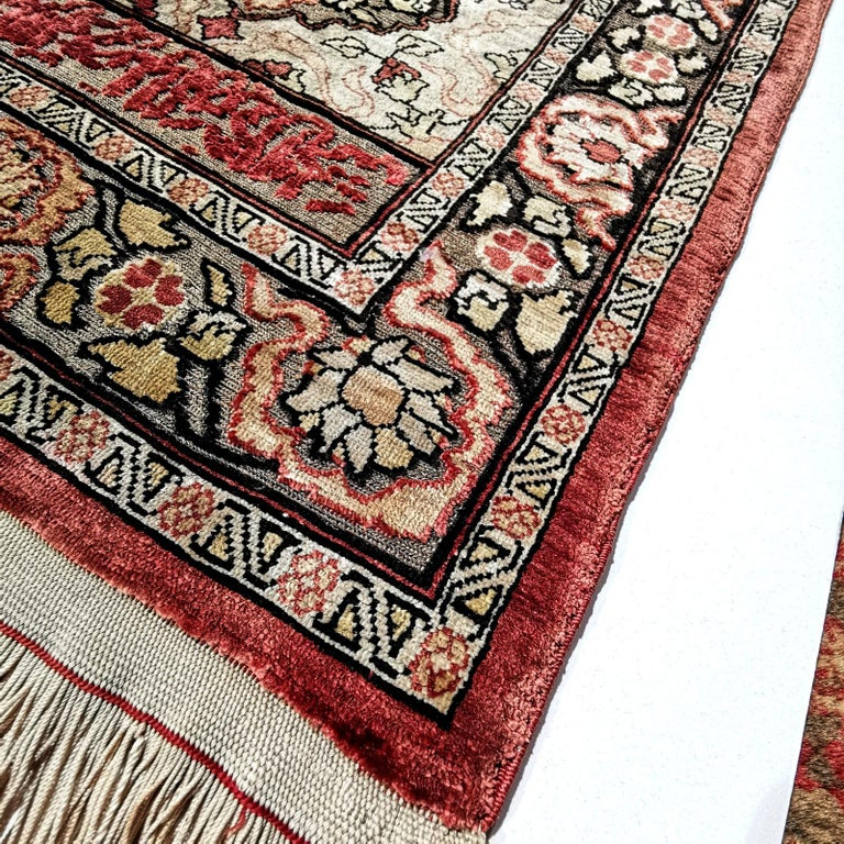 Hereke Pure Silk Turkish Prayer Rug with Golden Metal Threats Souf For Sale 7
