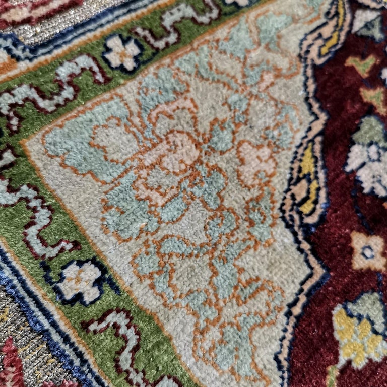 Hereke Pure Silk Turkish Prayer Rug with Golden Metal Threats Souf For Sale 8