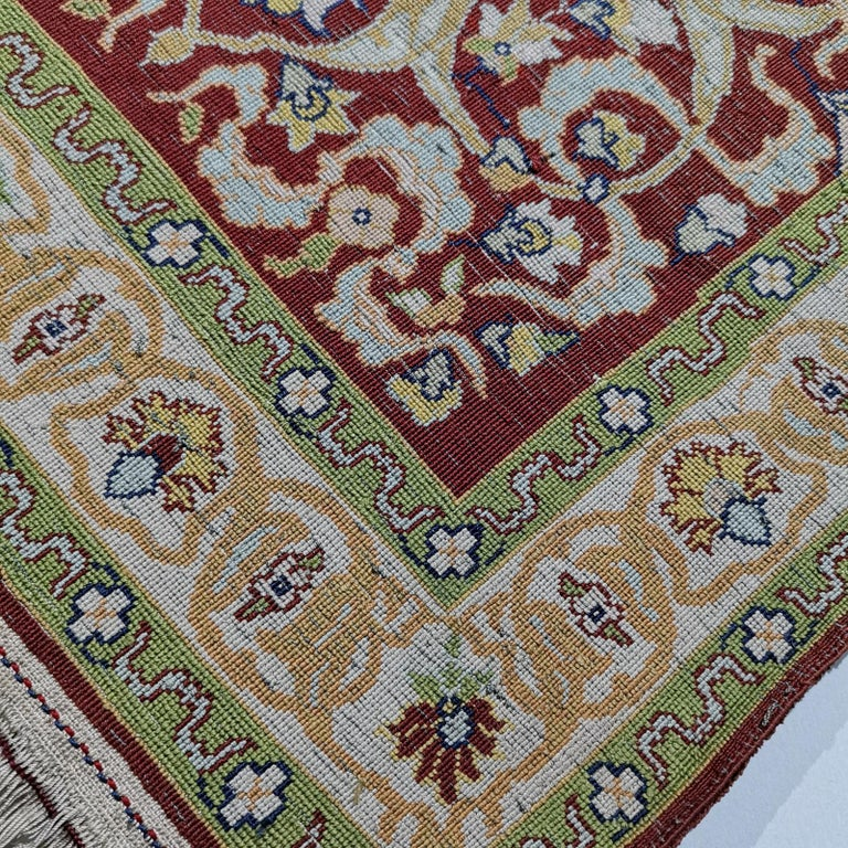 Hereke Pure Silk Turkish Prayer Rug with Golden Metal Threats Souf For Sale 9