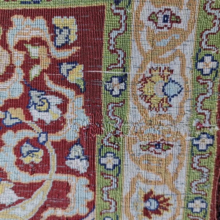 Hereke Pure Silk Turkish Prayer Rug with Golden Metal Threats Souf For Sale 10