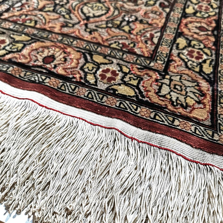Very fine Turkish pure silk Hereke prayer rug. 