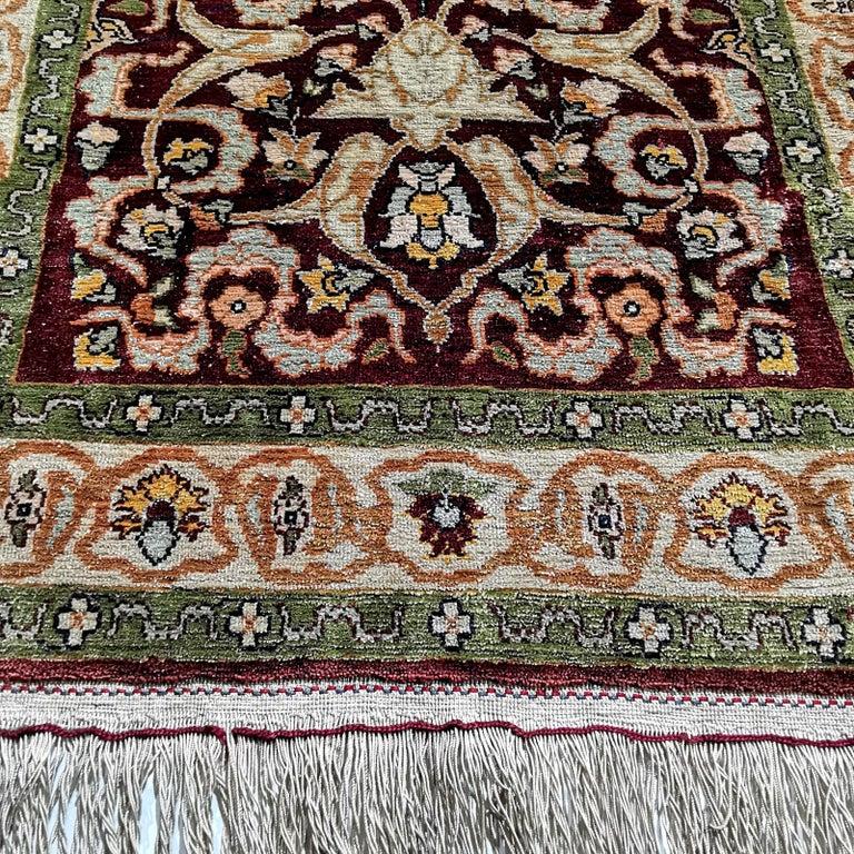 Islamic Hereke Pure Silk Turkish Prayer Rug with Golden Metal Threats Souf For Sale