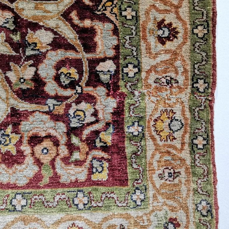 Hand-Knotted Hereke Pure Silk Turkish Prayer Rug with Golden Metal Threats Souf For Sale