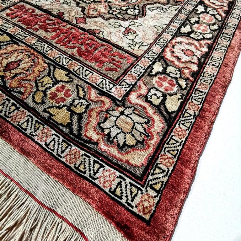 Mid-20th Century Hereke Pure Silk Turkish Prayer Rug with Golden Metal Threats Souf For Sale