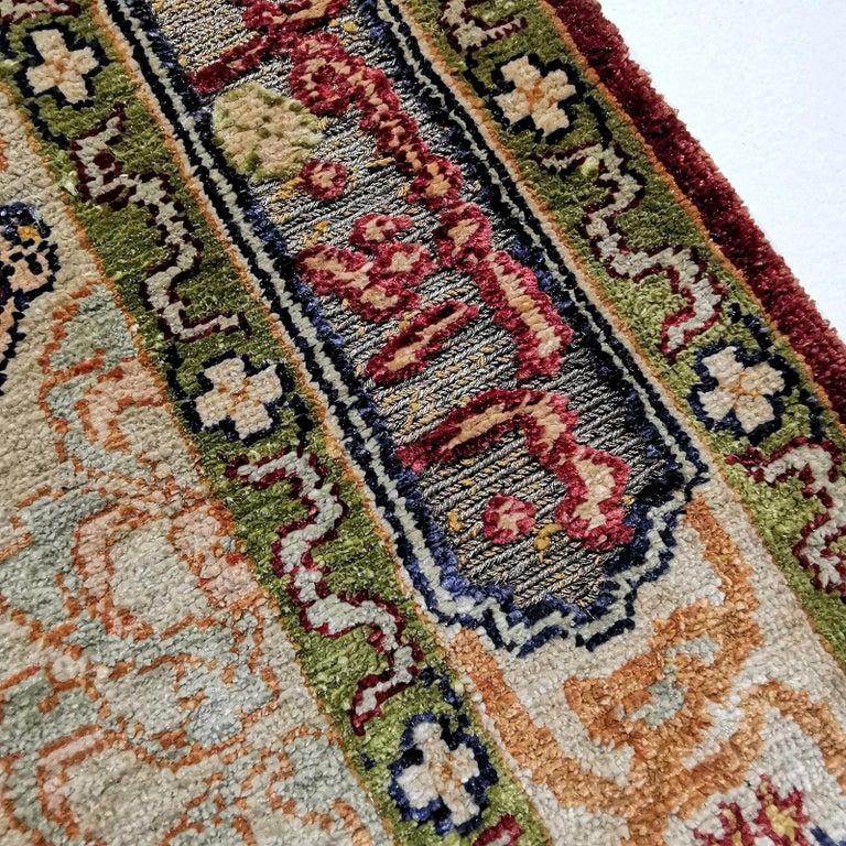 Hereke Pure Silk Turkish Prayer Rug with Golden Metal Threats Souf For Sale 1