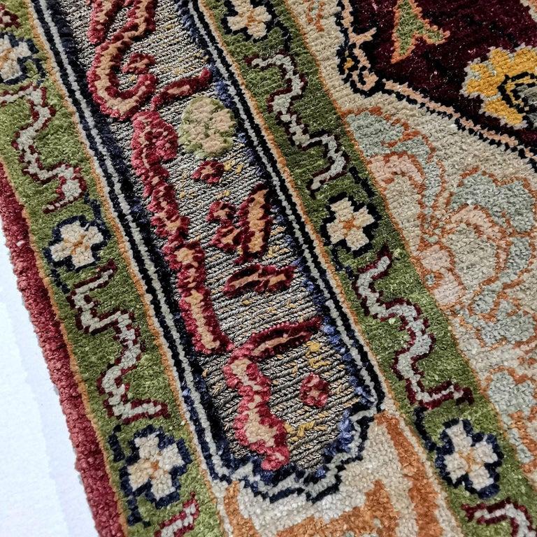 Hereke Pure Silk Turkish Prayer Rug with Golden Metal Threats Souf For Sale 2