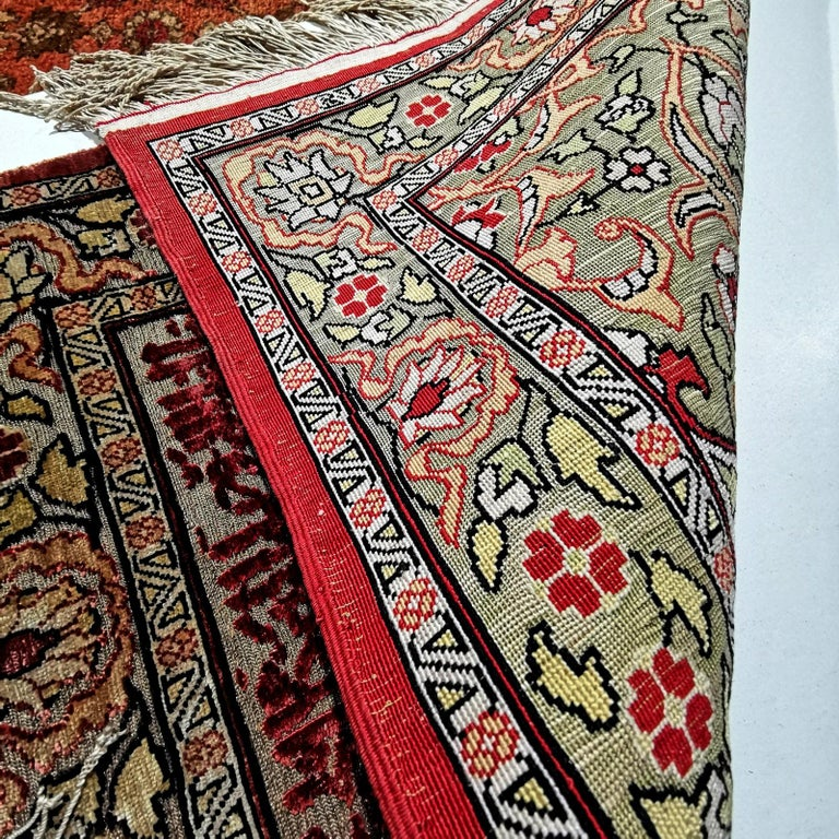 Hereke Pure Silk Turkish Prayer Rug with Golden Metal Threats Souf For Sale 2