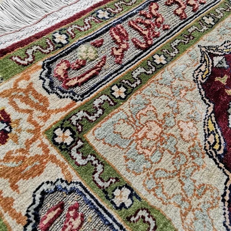 Hereke Pure Silk Turkish Prayer Rug with Golden Metal Threats Souf For Sale 3