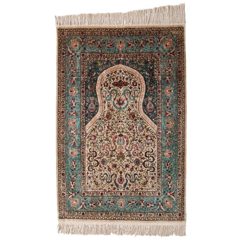 Hereke Silk Rug Youtube: Hereke Rug, A Silk Prayer Rug From Turkey For Sale At 1stdibs