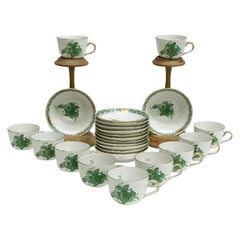 """Herend """"Chinese Bouquet Apponyi Green"""" 11 Mocca Cups and Saucers"""