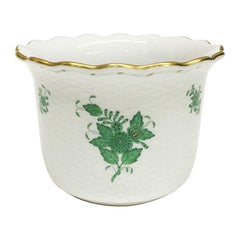 """Herend """"Chinese Bouquet Apponyi Green"""" Cachepot"""