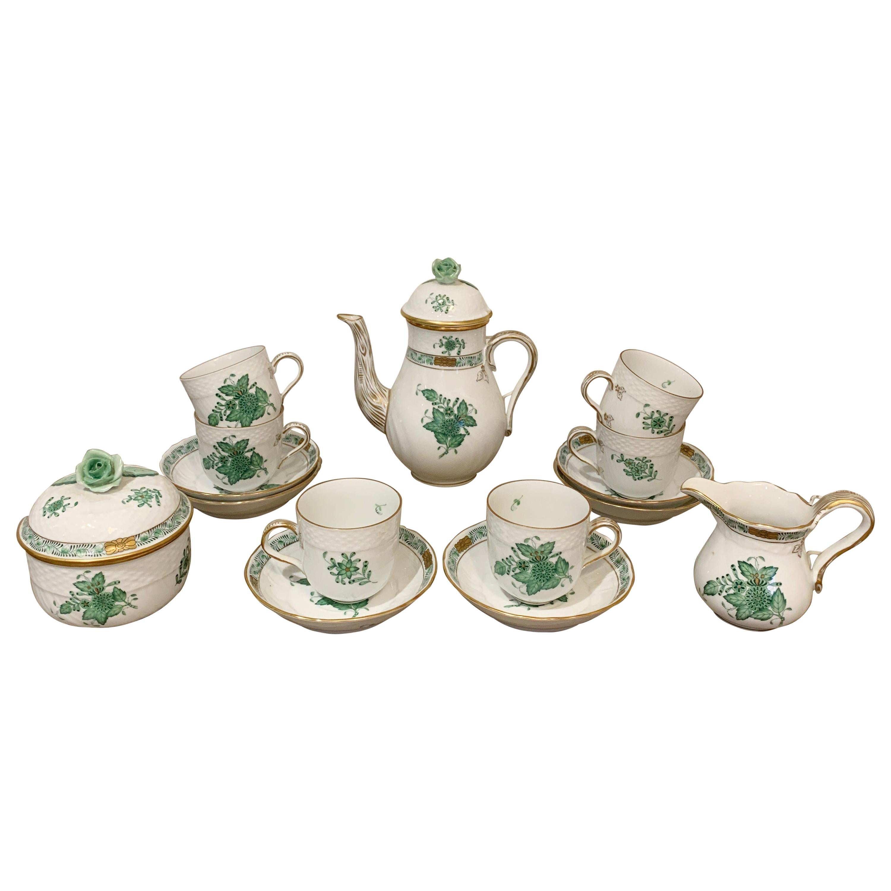 Herend Chinese Bouquet Apponyi Green Coffee Set, circa 1950s