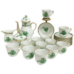 "Herend ""Chinese Bouquet Apponyi Green"" Coffee Set"