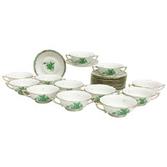 """Herend """"Chinese Bouquet Apponyi Green"""" Cream soup cup and stand"""