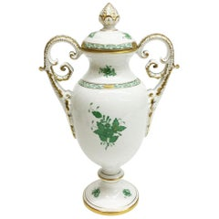 "Herend ""Chinese Bouquet Apponyi Green"" Lidded Vase"