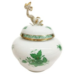 "Herend ""Chinese Bouquet Apponyi Green"" Lidded Vase with a Fish on Top"