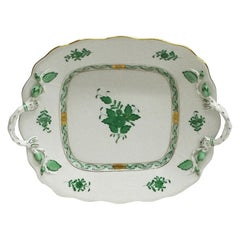 "Herend ""Chinese Bouquet Apponyi Green"" Serving Plate with Handles"