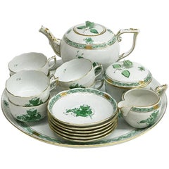 "Herend ""Chinese Bouquet Apponyi Green"" Tea Set"
