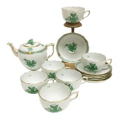 """Herend """"Chinese Bouquet Apponyi Green"""" Tea Set"""