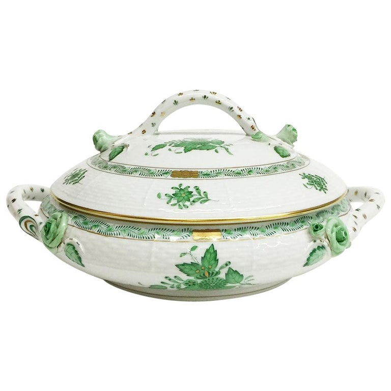 """Herend """"Chinese Bouquet Apponyi Green"""" Tureen with Handles For Sale"""