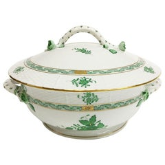 "Herend ""Chinese Bouquet Apponyi Green"" Tureen with Handles"