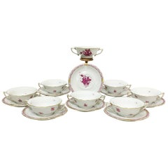 "Herend ""Chinese Bouquet Raspberry"" Cream Soup Cups and Stands"