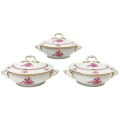 "Herend ""Chinese Bouquet Raspberry"" Tureens with Handles"