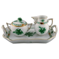 "Herend ""Chinese Bouquet"" Sugar / Creamer Set in Porcelain, Mid-20th Century"