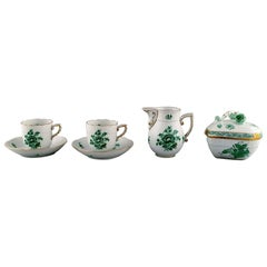 """Herend """"Chinese Bouquet"""", Two Coffee Cups with Saucers and Sugar / Cream Set"""