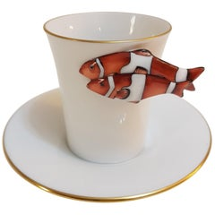 "Herend ""Clownfish"" Hand Painted Hungarian Porcelain Coffee Cup and Saucer"