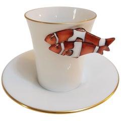 """Herend """"Clownfisch"""" handgemalt ungarischen Porzellan Kaffee Tasse und Untertasse"""