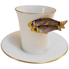 "Herend ""Clownfish"" Hand-Painted Hungarian Porcelain Coffee Cup and Saucer"