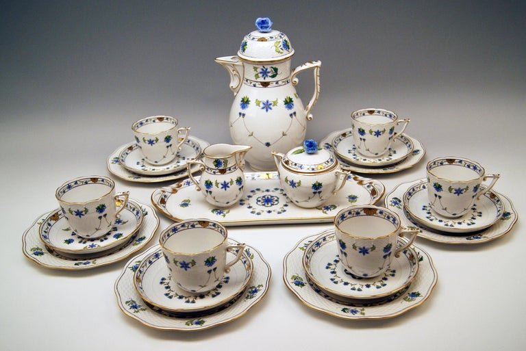 Herend Coffee Set for Six Persons  Decor Lahore / LHTBW, partially golden painted  form type Osier made circa 1950-1960  This Herend coffee set consists of following parts: -- six coffee cup with saucers -- six dessert plates -- lidded