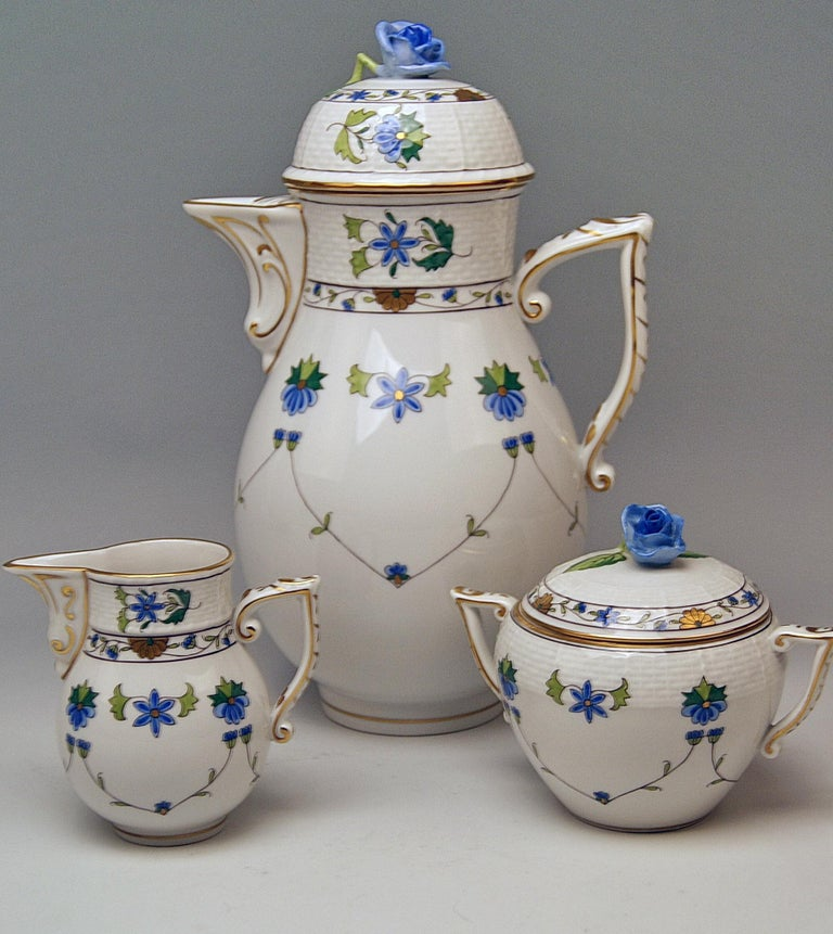 Other  Herend Coffee Set of Six, Decor Lahore LHTBW Golden Painted Made, circa 1960 For Sale