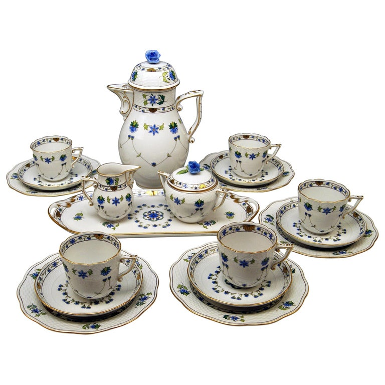 Herend Coffee Set of Six, Decor Lahore LHTBW Golden Painted Made, circa 1960 For Sale