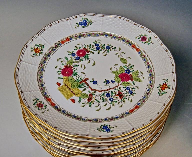 Porcelain Herend Dinner Set for Twelve Persons Decor Fleurs des Indes Multicolored