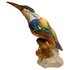 Herend Finest Quality Hand Painted Porcelain Kingfisher Bird Figurine