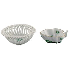 """Herend """"Green Chinese Bouquet"""", Two Porcelain Bowls with Gold Decoration"""
