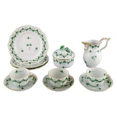 Herend Green Clover Coffee Service for Three People in Hand-Painted Porcelain