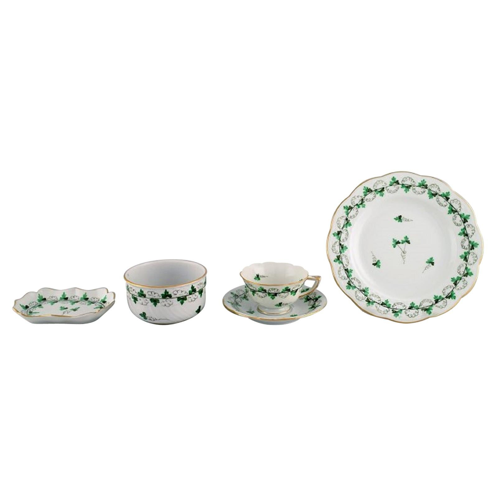 Herend Green Clover Egoist Coffee Service in Hand-Painted Porcelain