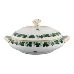 Herend Green Grape Leaf & Vine Lidded Tureen in Hand-Painted Porcelain