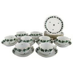 Herend Green Grape & Leaf Vine Tea Service for Eight People in Porcelain