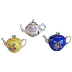 Herend Hand Painted Polycrome Porcelain Set of Three Teapot, Hungary, Modern