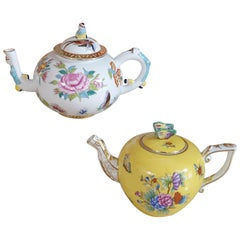 Herend Hand Painted Polycrome Porcelain Set of Two Teapot, Hungary, Modern