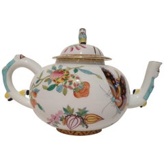 Herend Hand Painted Polycrome Porcelain Teapot, Hungary, Modern