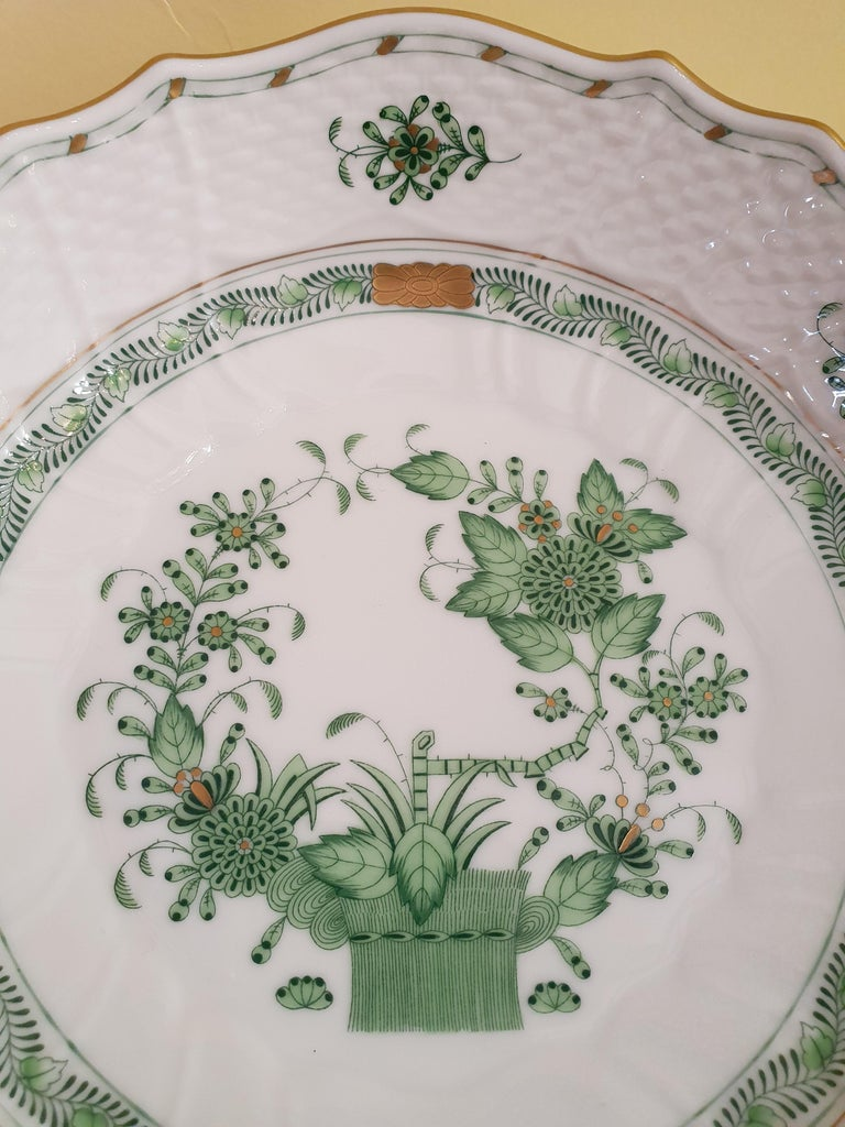 Stylish compotier in Hungarian hand painted porcelain. Introduced in the 1850s, this pattern's original name was