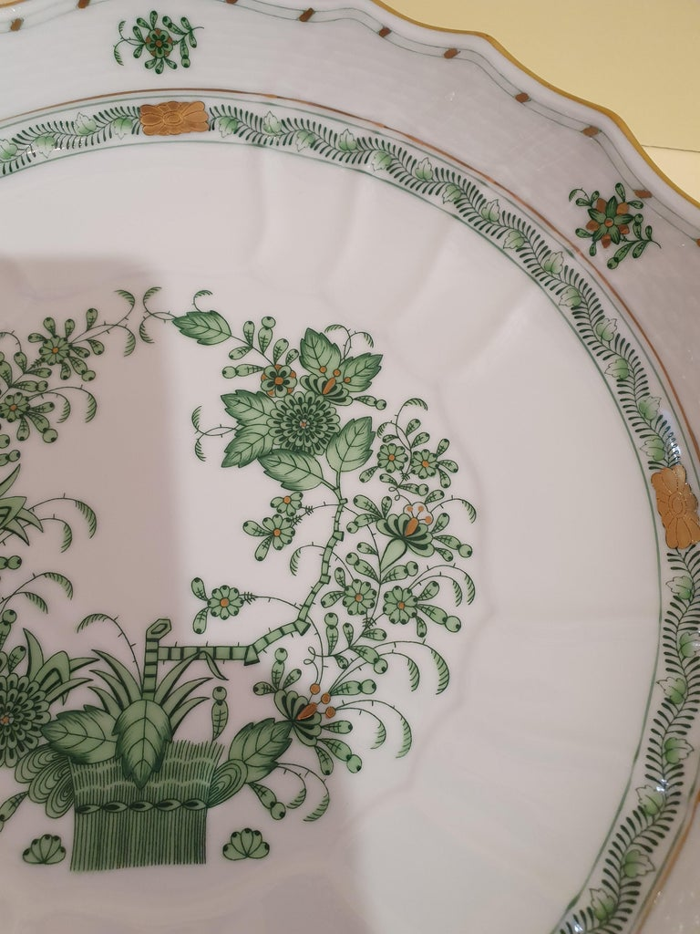 Stylish compotier in Hungarian hand painted porcelain. Indroduced in the 1850s, this pattern's original name was